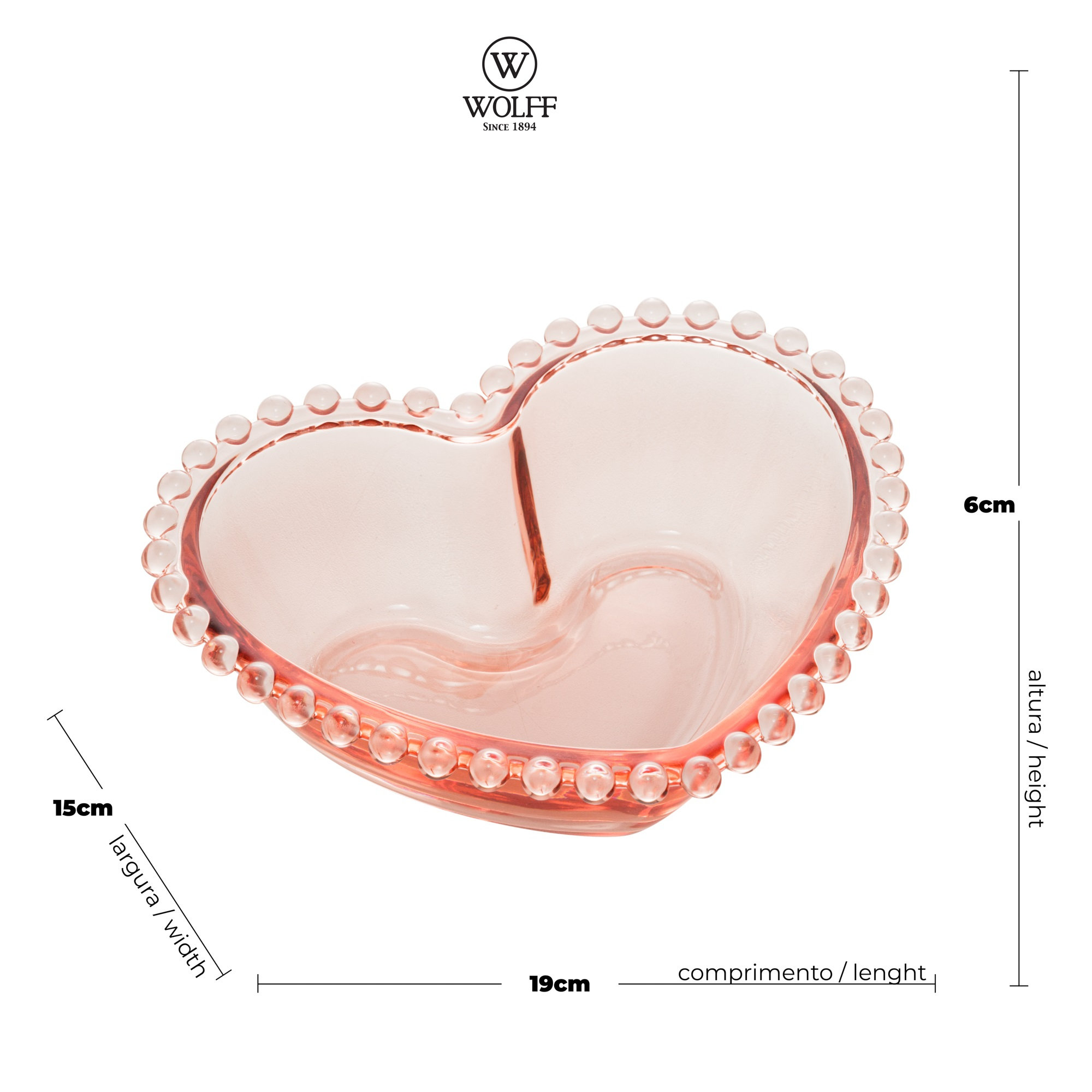 Bowl Médio de Coração em Cristal Rosa com borda de Bolinha 19x15x6cm