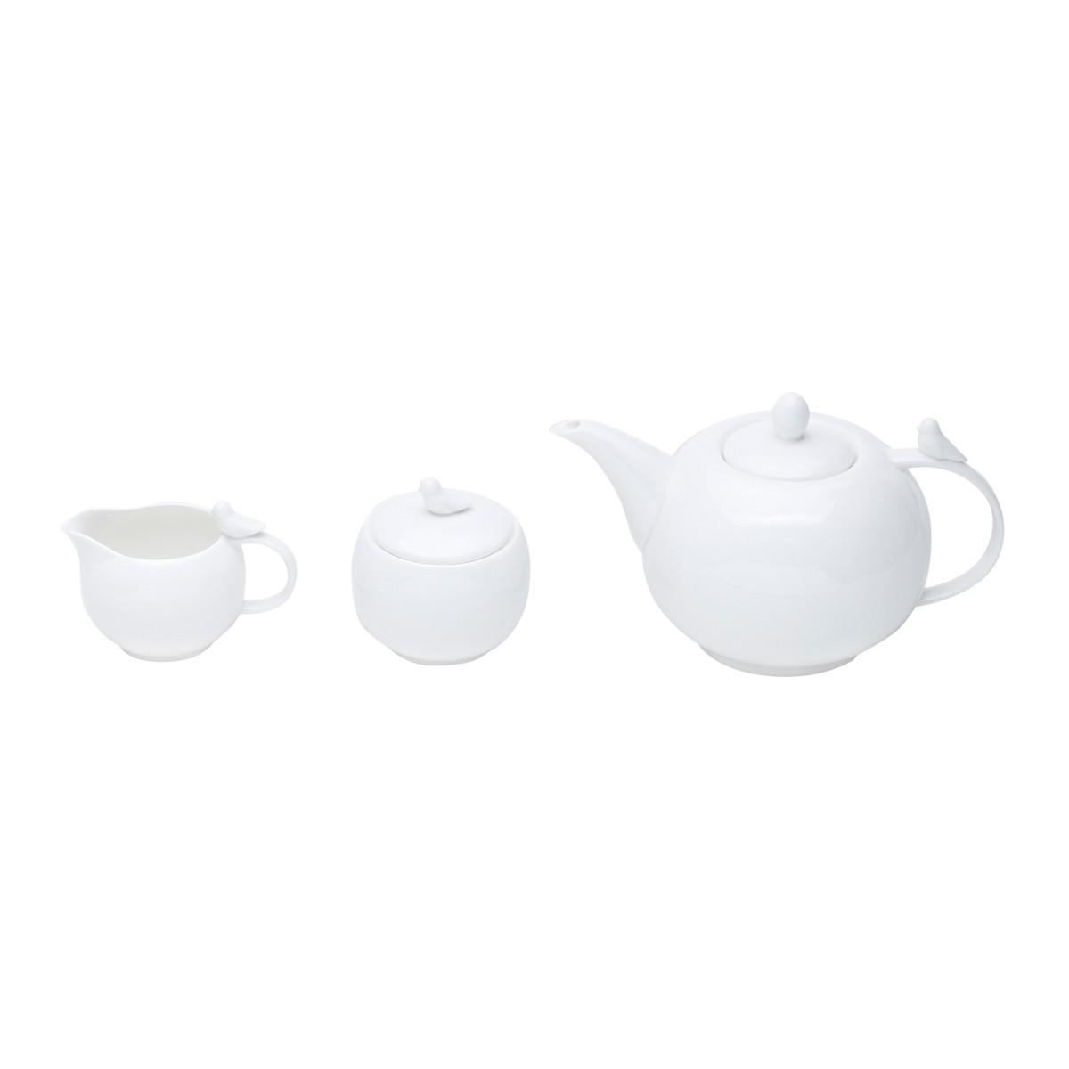 Conjunto com 3 Peças para Café Birds em Porcelana Branco