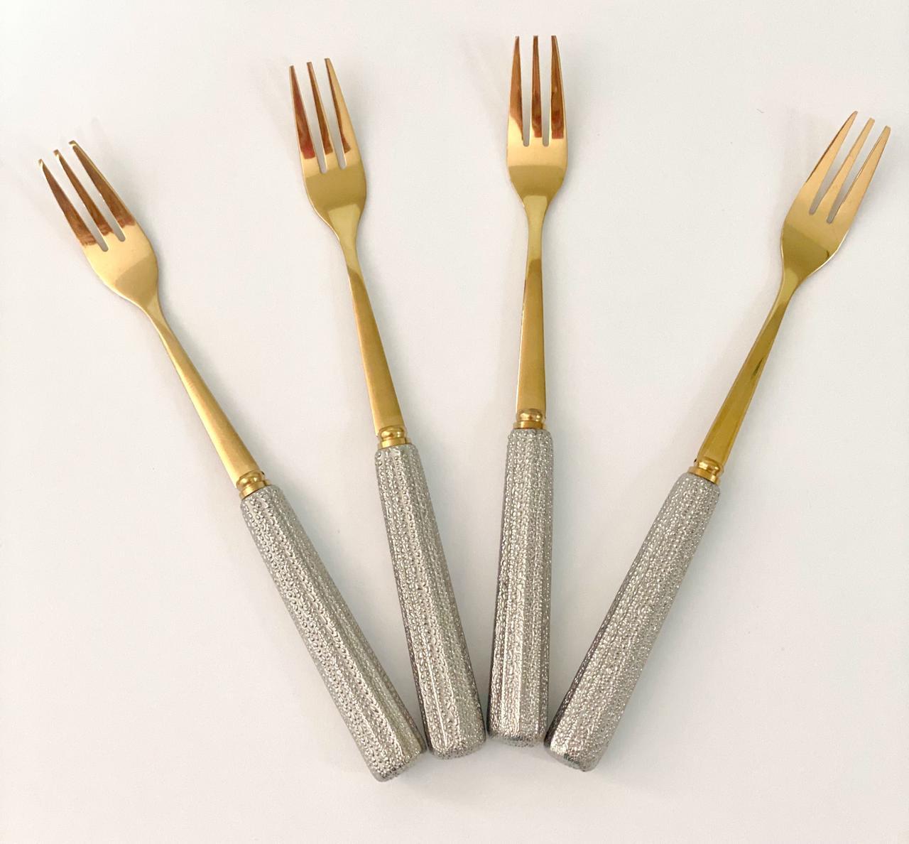Conjunto com 4 Garfos para Sobremesa Dourada com Cabo Prata 16 cm Tableware Series