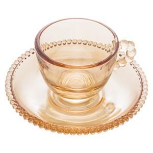 Conjunto com 4 Xícaras Âmbar de Bolinha Pearl para Café com Pires 100 ml