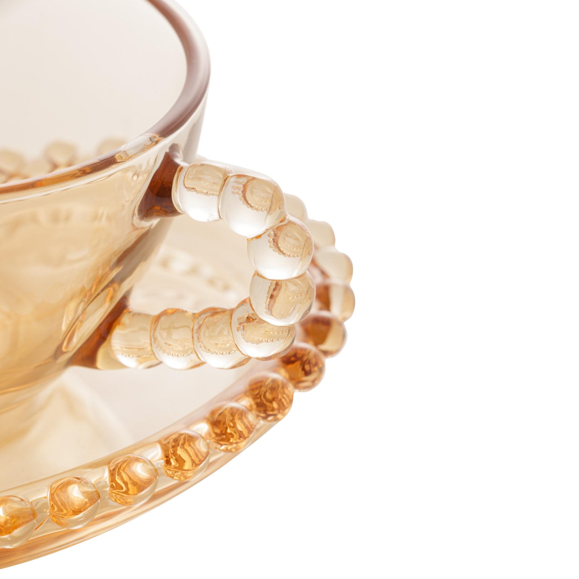 Conjunto com 4 Xícaras Âmbar de Coração com Borda de Bolinha para Café  85ml