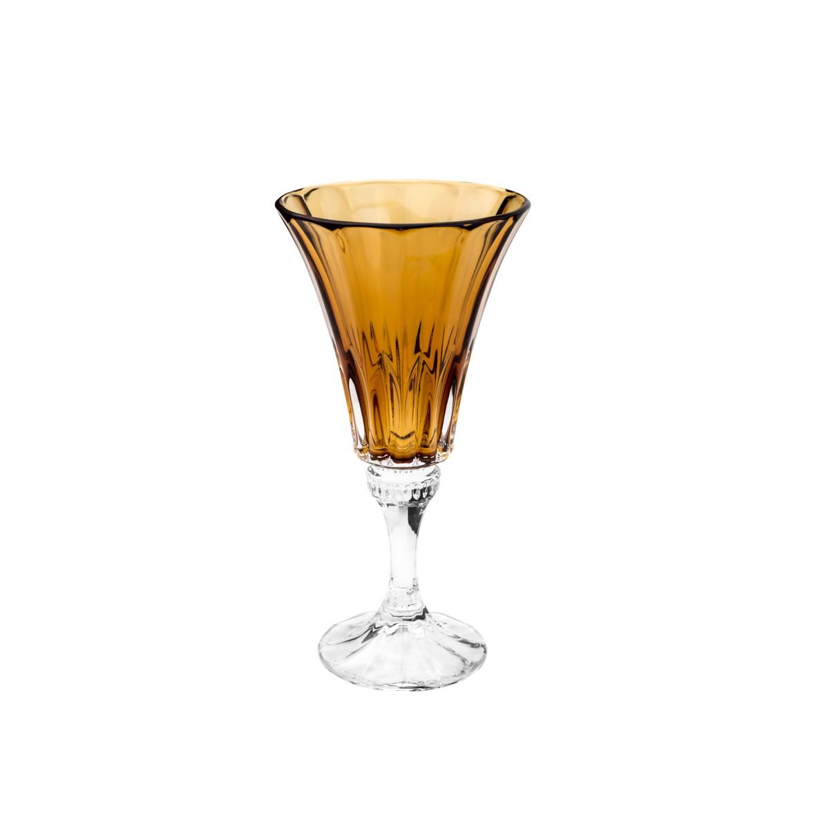 Conjunto com 6 Taças para Agua Wellington Âmbar em Cristal 280 ml