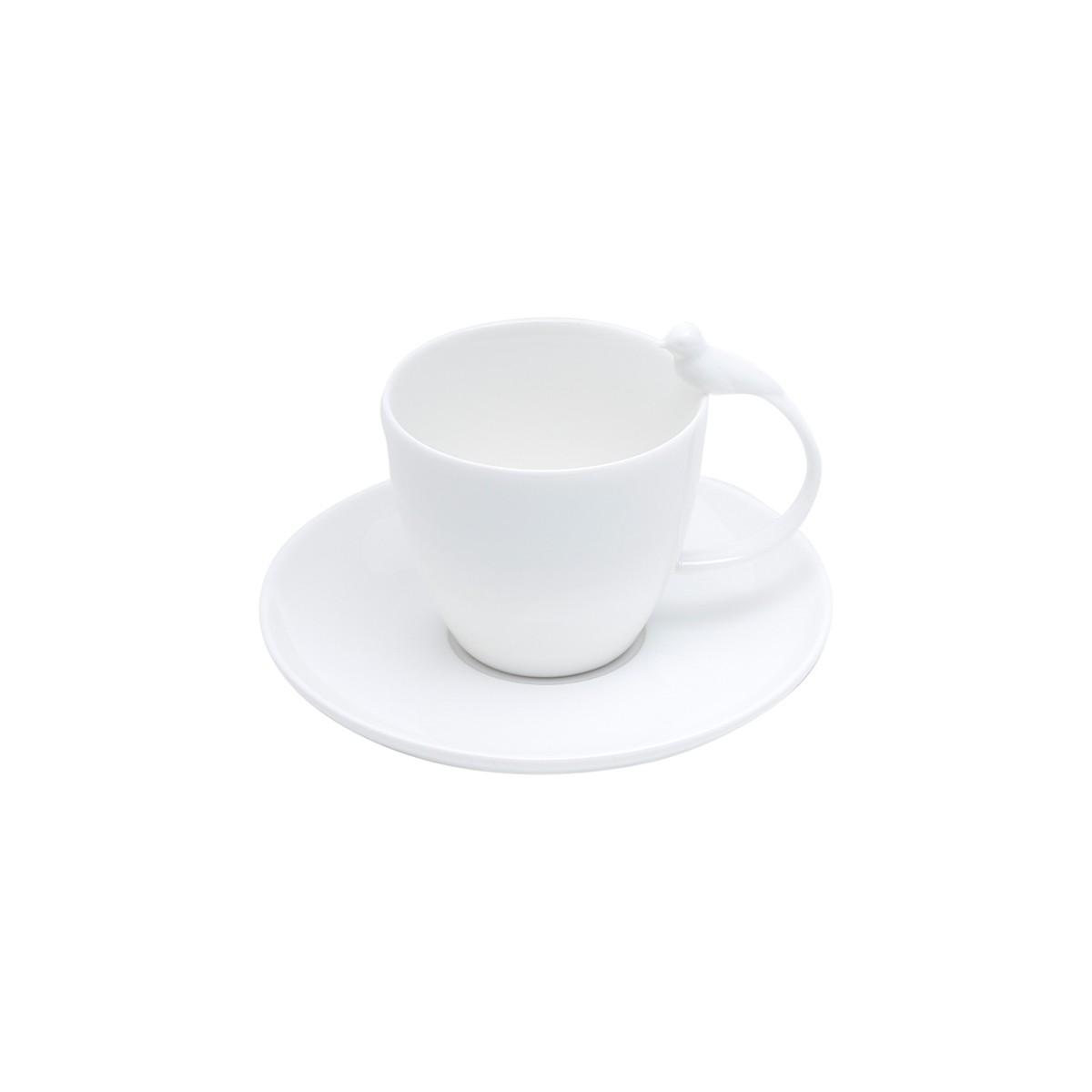 Conjunto com 6 Xícaras para Chá Birds em Porcelana Branco 200 ml