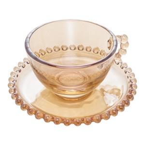 Conjunto de Xícaras Ambar de bolinha Pearl para Chá com Pires 200 ml