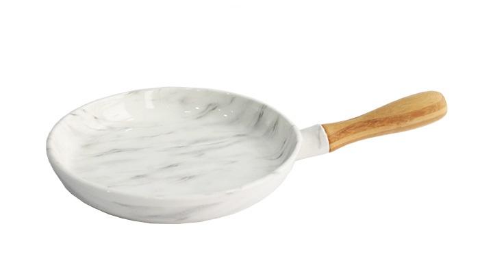 Frigideira em Cerâmica com Cabo em Madeira 32,5x20x2,7 cm