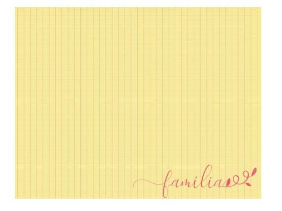 Lugar Americano Amarelo Listrado ''Família''  Coleção Camila 44x35 cm