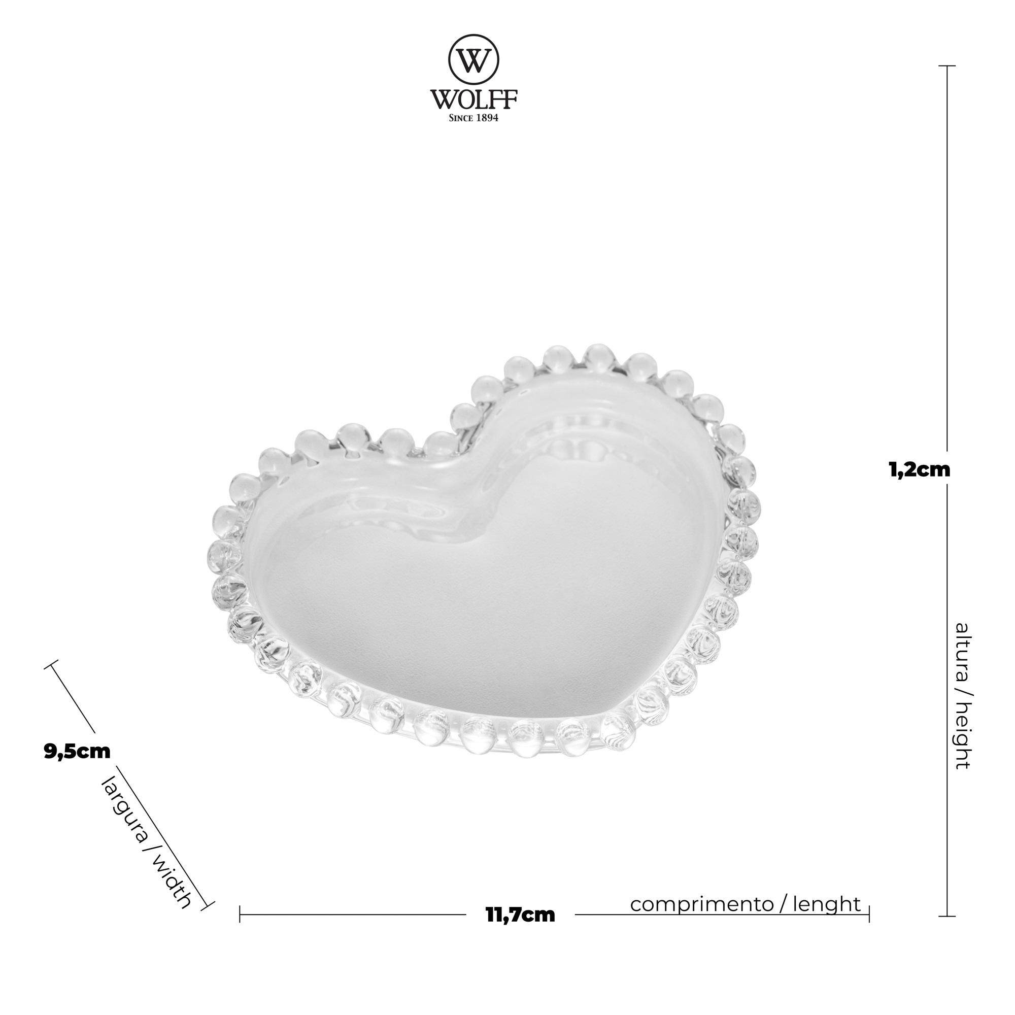 Prato Pequeno em Cristal de Coração com Borda de Bolinha 12x10x1cm