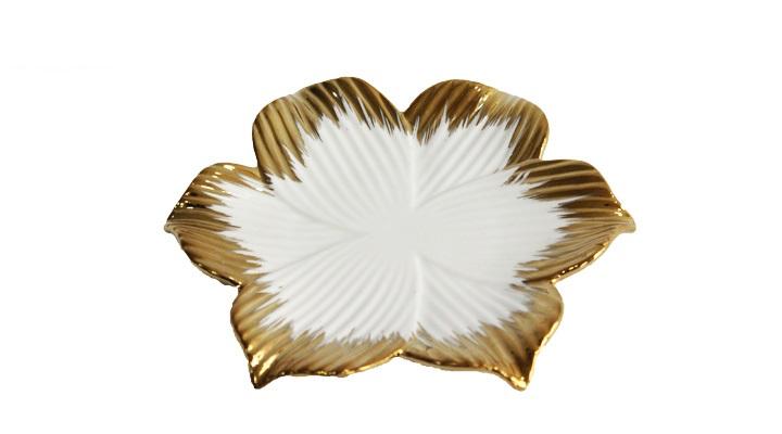 Petisqueira Flor Branca com Borda Dourada 16,5x16,5x2 cm