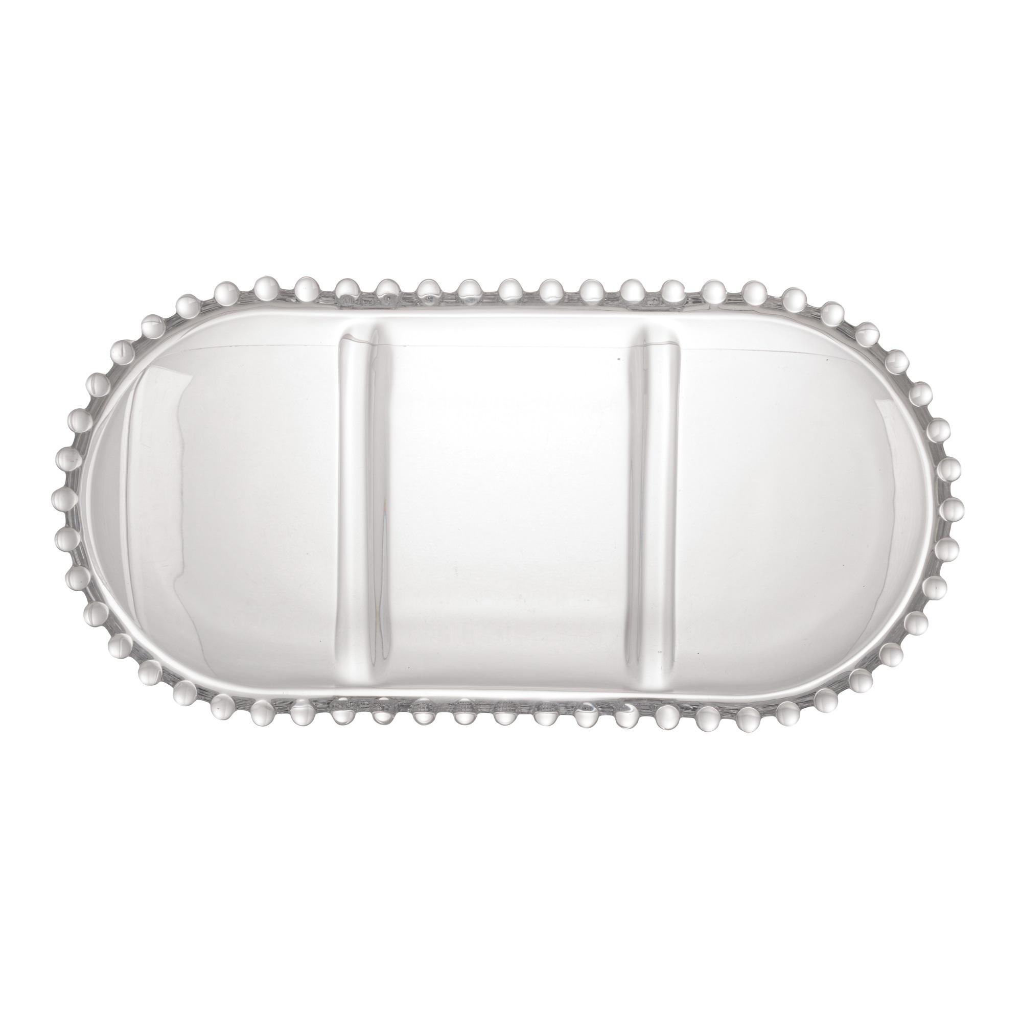 Petisqueira Oval 3 Divisões em Cristal com Borda de Bolinha 30x15x2cm