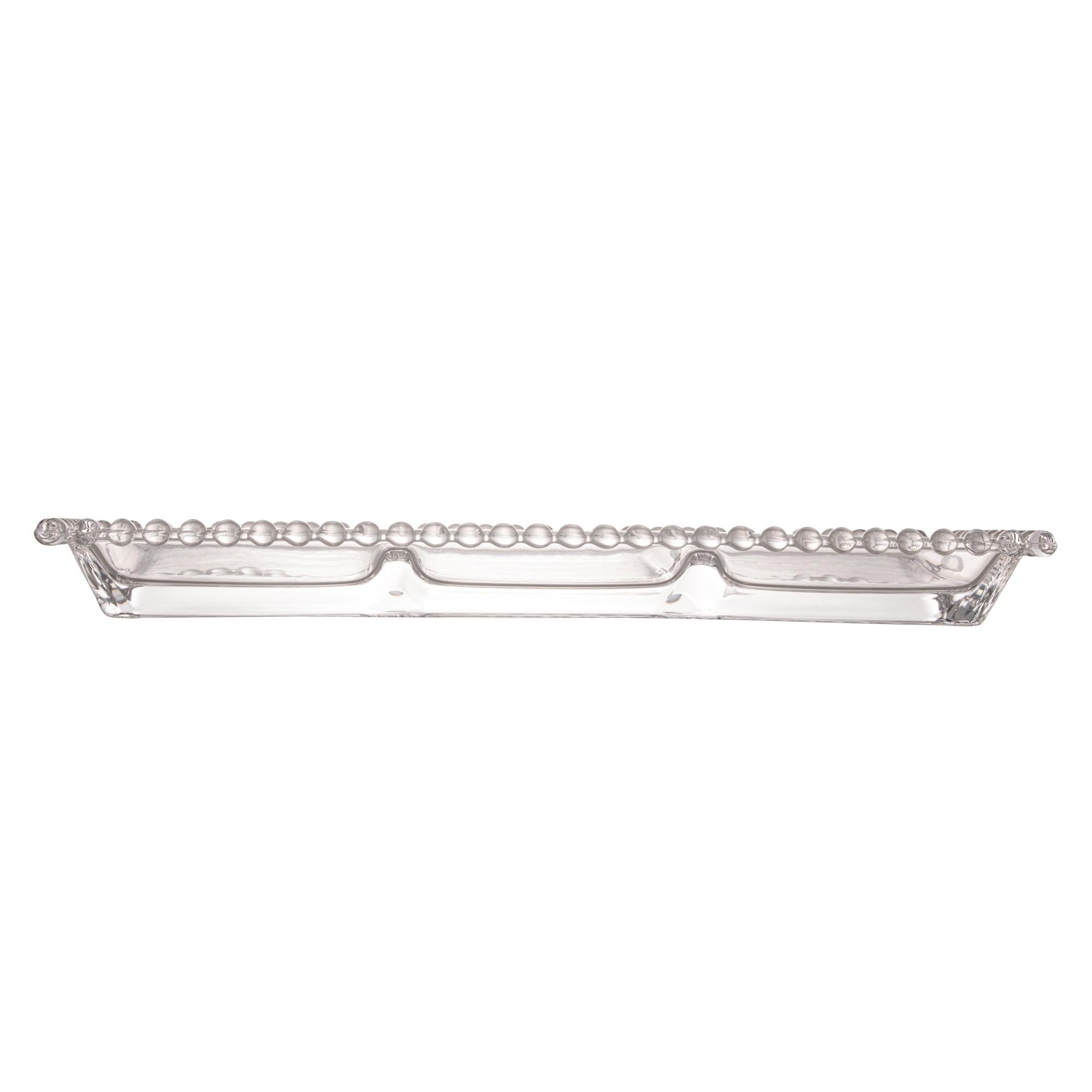 Petisqueira Retangular 3 Divisões em Cristal com Borda de Bolinha 30x13x3cm