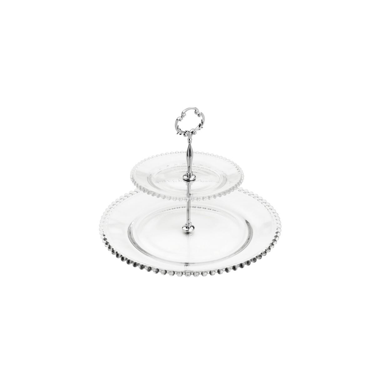 Porta Doce Duplo 2 Andares em Cristal com Borda de Bolinha 19/32x24 cm