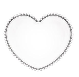 Sousplat em Cristal de Coração com Borda de Bolinha 30x25x2cm