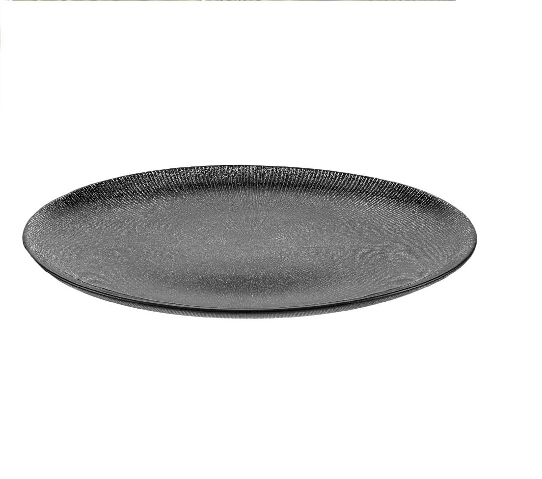 Prato para Sobremesa em Cristal Dots Preto 21 cm