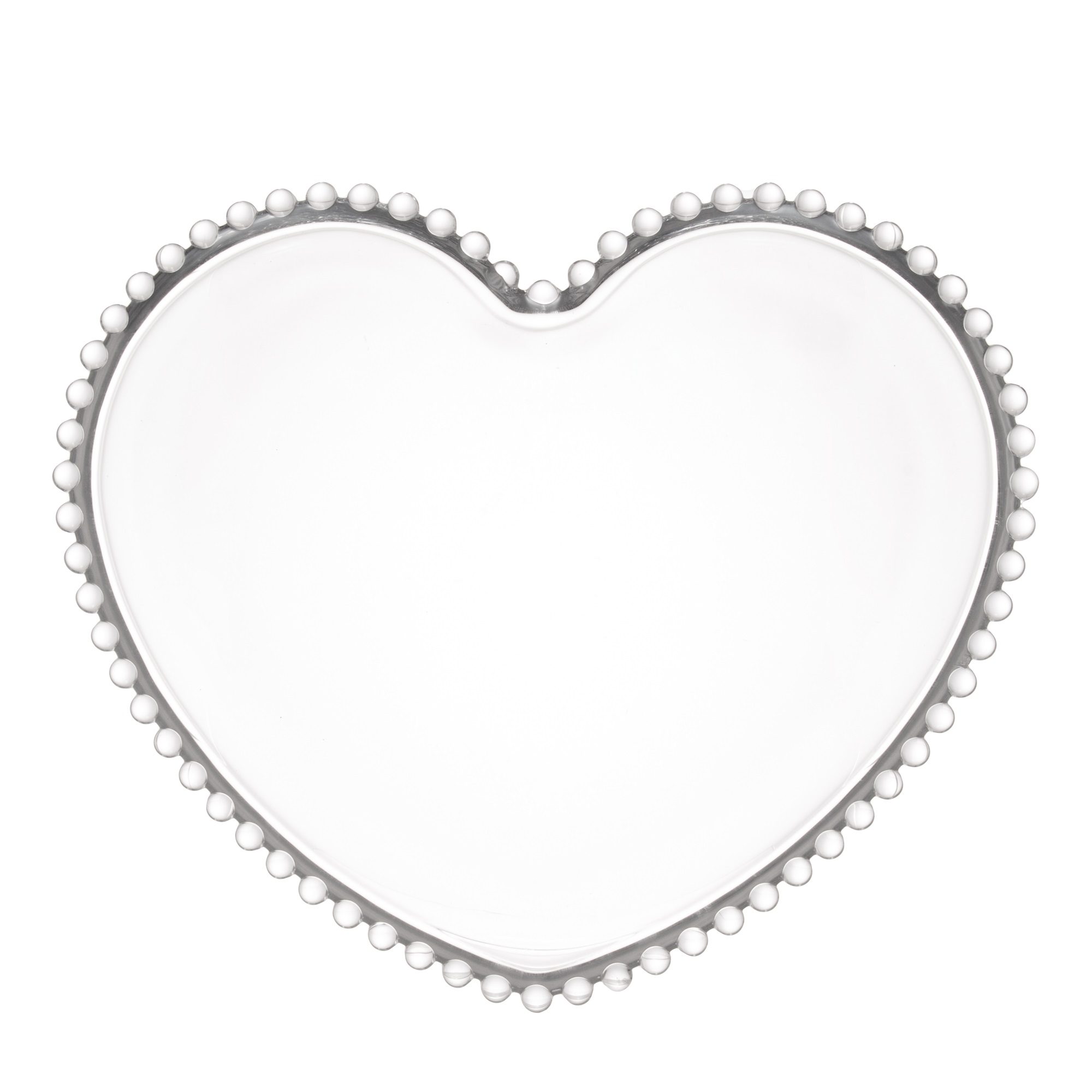 Prato Raso de Coração em Cristal com borda de Bolinha  25x22x2cm