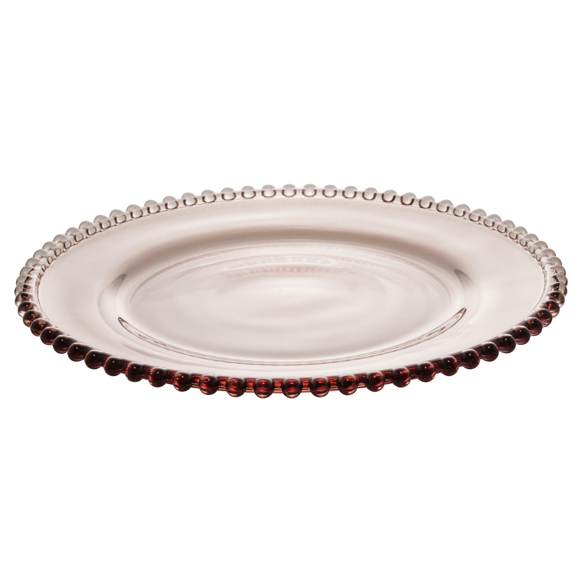 Prato Raso em Cristal com Borda de Bolinha Fume 28cm