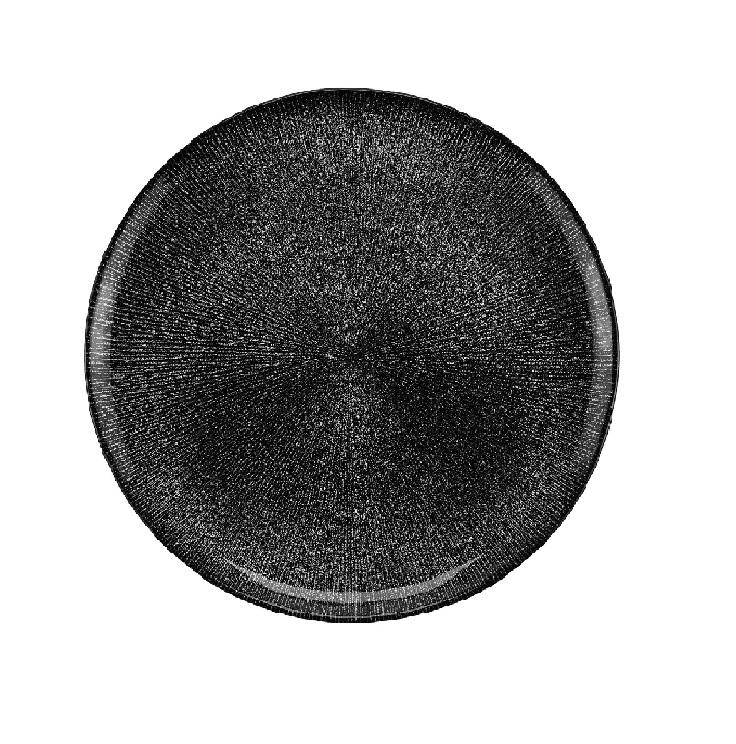 Prato Raso em Cristal Dots Preto  28cm