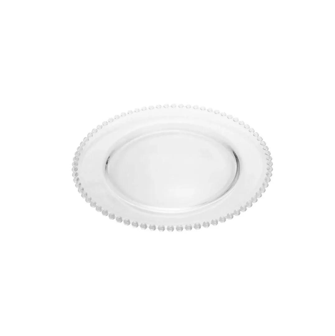 Prato para Sobremesa em Cristal com Borda de Bolinha Pearl 20 cm