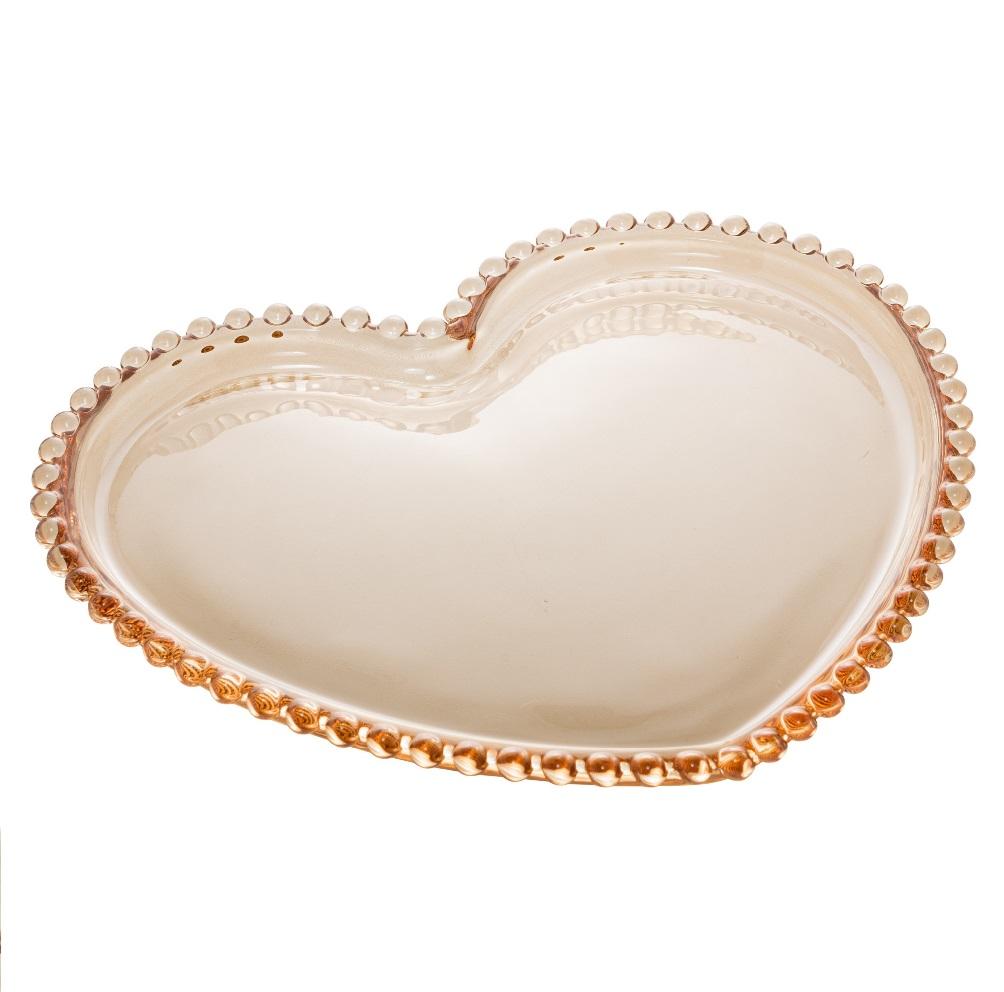 Prato Sobremesa de Coração em Cristal Âmbar com Borda de Bolinha 20x17x2cm