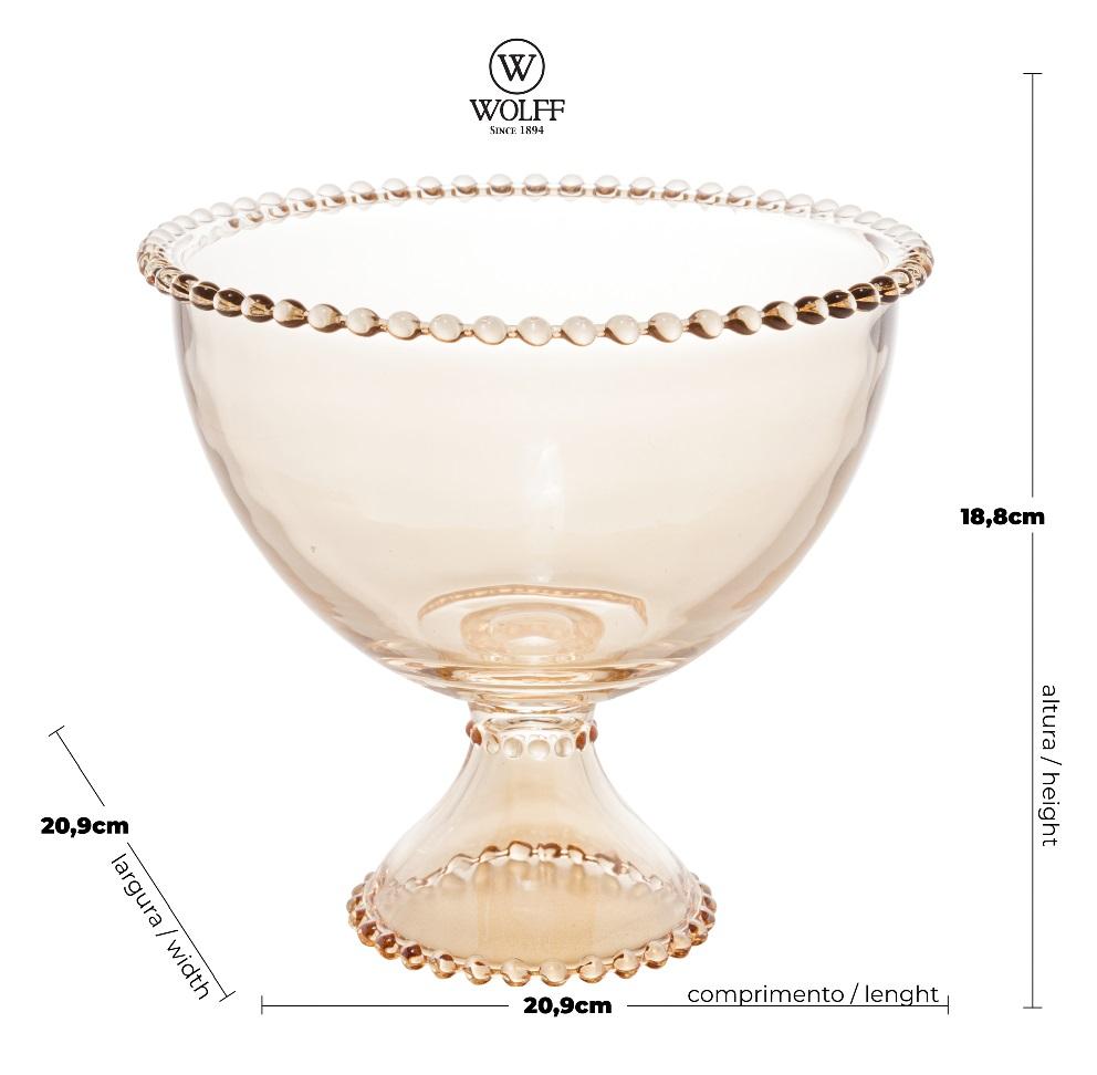 Saladeira em Cristal Âmbar com Pé e Borda de Bolinha 21x19cm