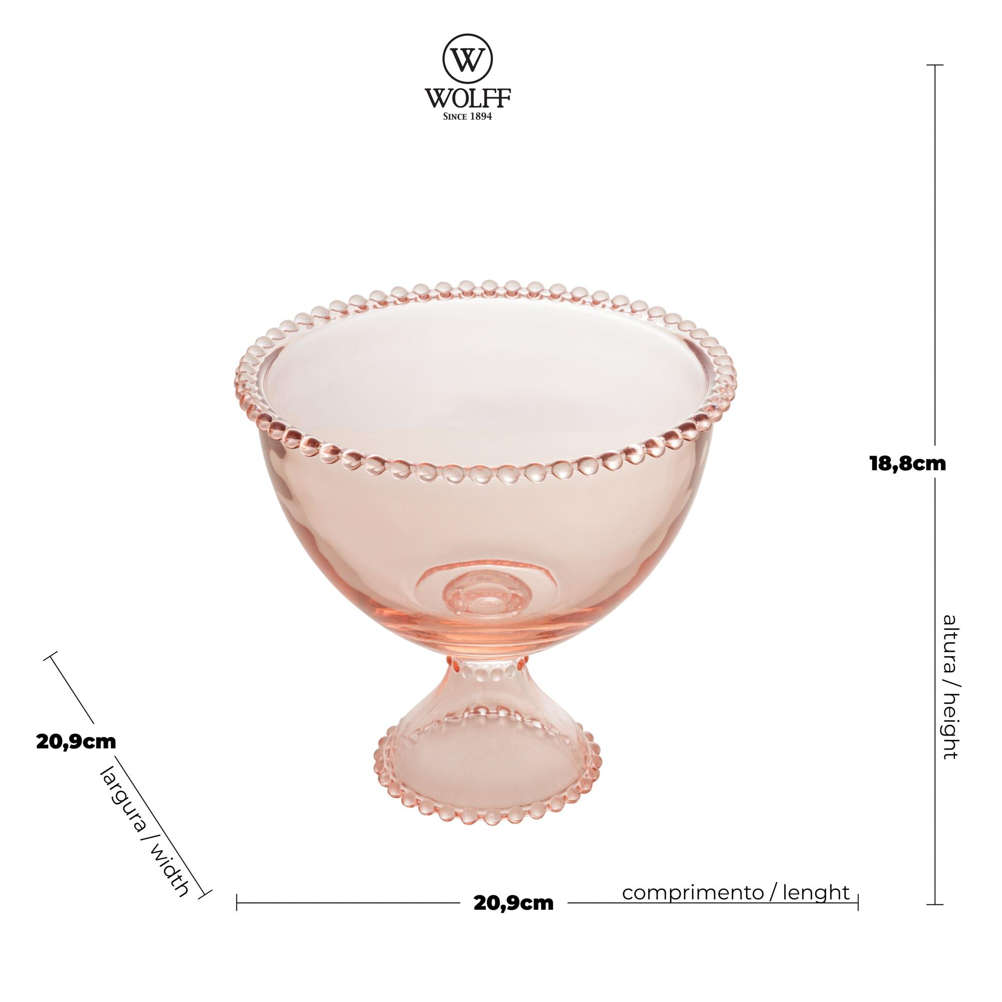 Saladeira em Cristal Rosa com Pé e Borda de Bolinha 21x19cm