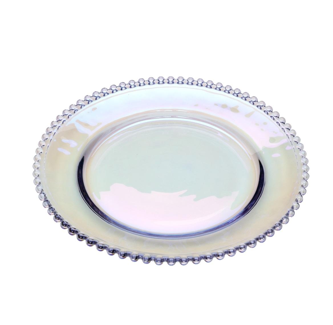 Sousplat em Cristal com Borda de Bolinha Furtacor 32 cm