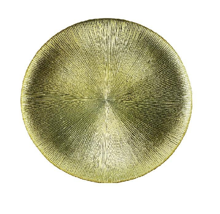 Sousplat em Cristal Dots Dourado 33x2cm