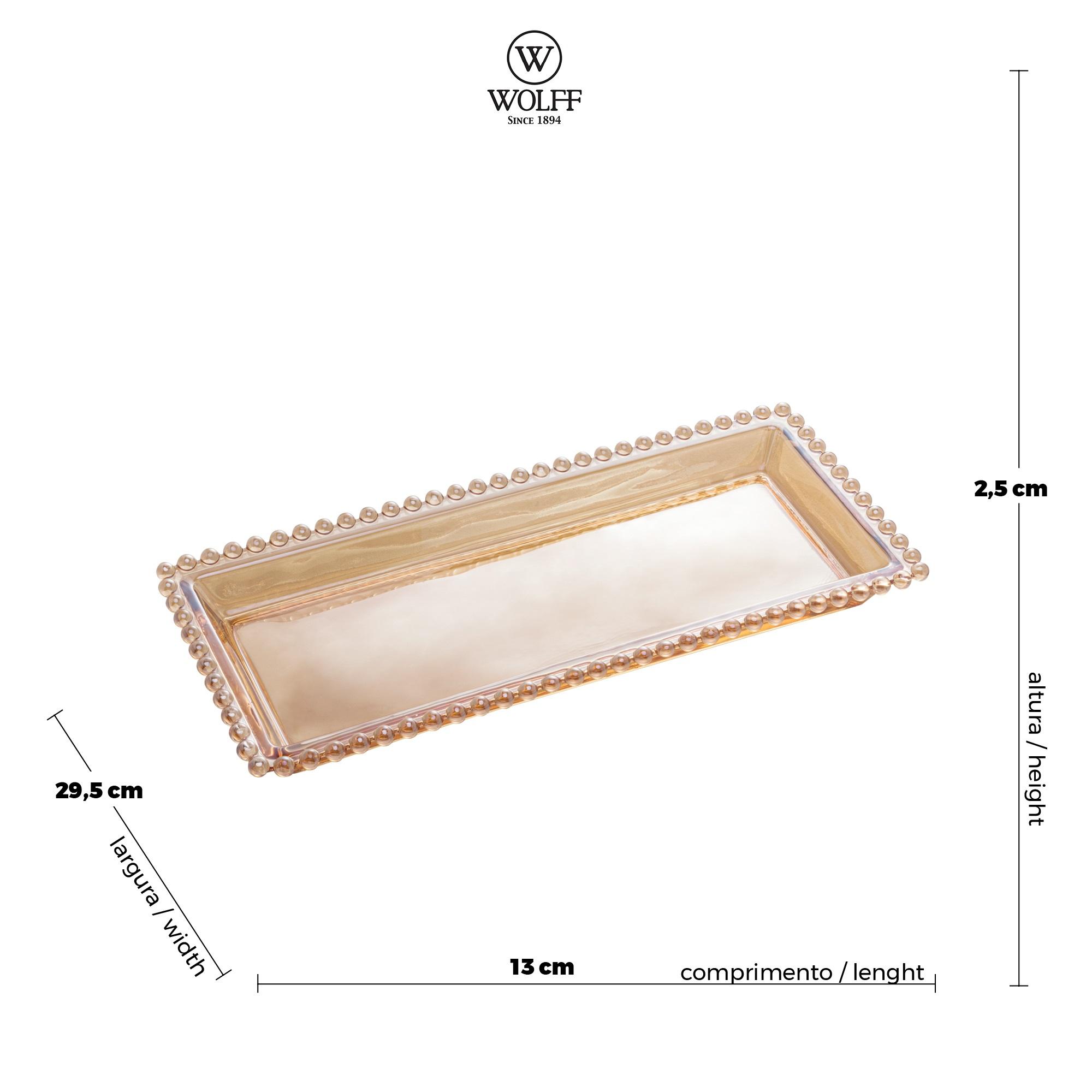 Travessa Retangular em Cristal Âmbar com Borda de Bolinha 30x13x3cm