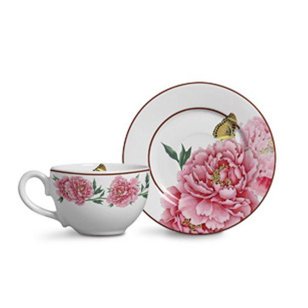 Xícara para Chá com Pires Reto Bouquet