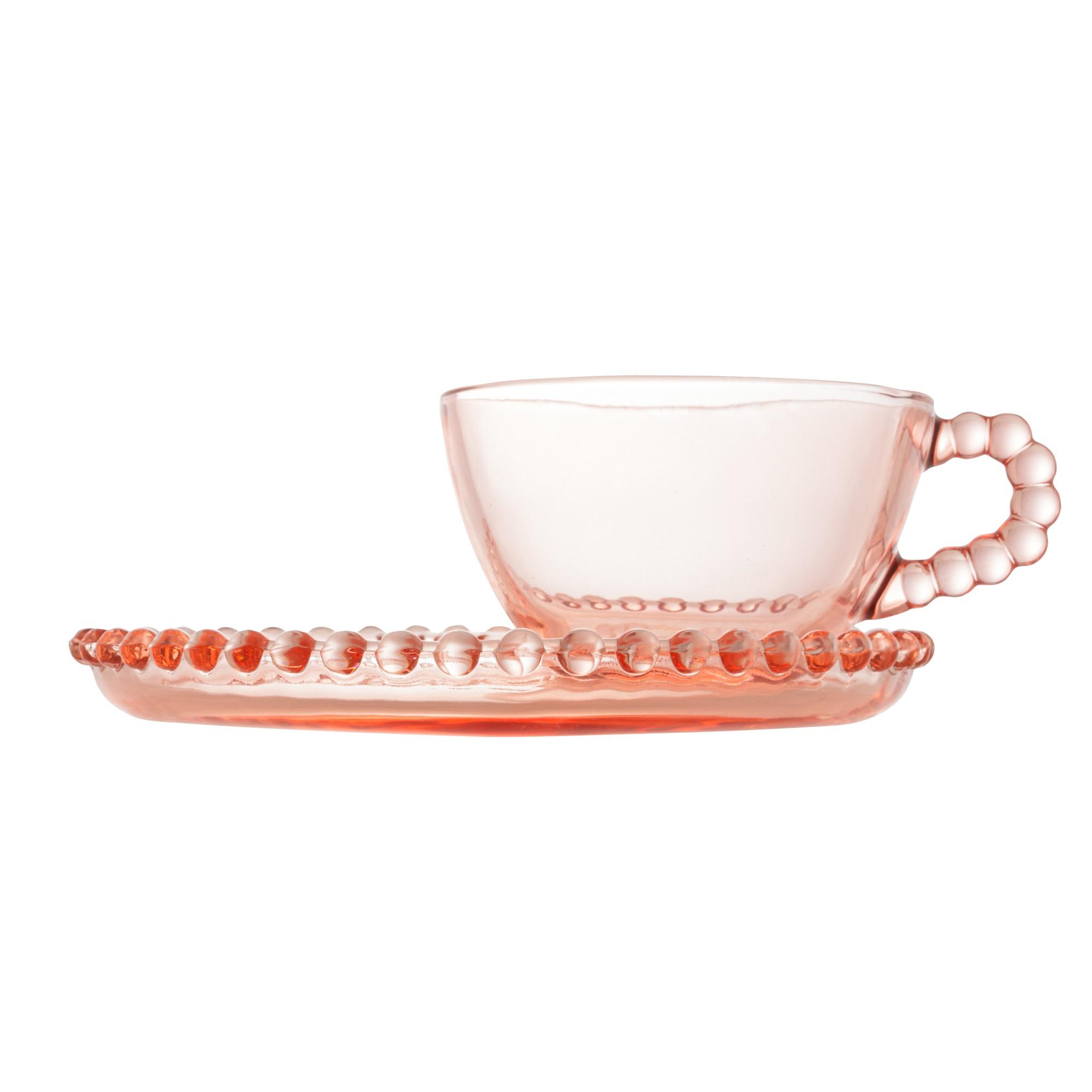 Xícara com Pires de Coração e borda de Bolinha em Cristal Rosa 180 ml