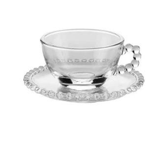 Xícara de bolinha Pearl para Chá com Pires 200 ml