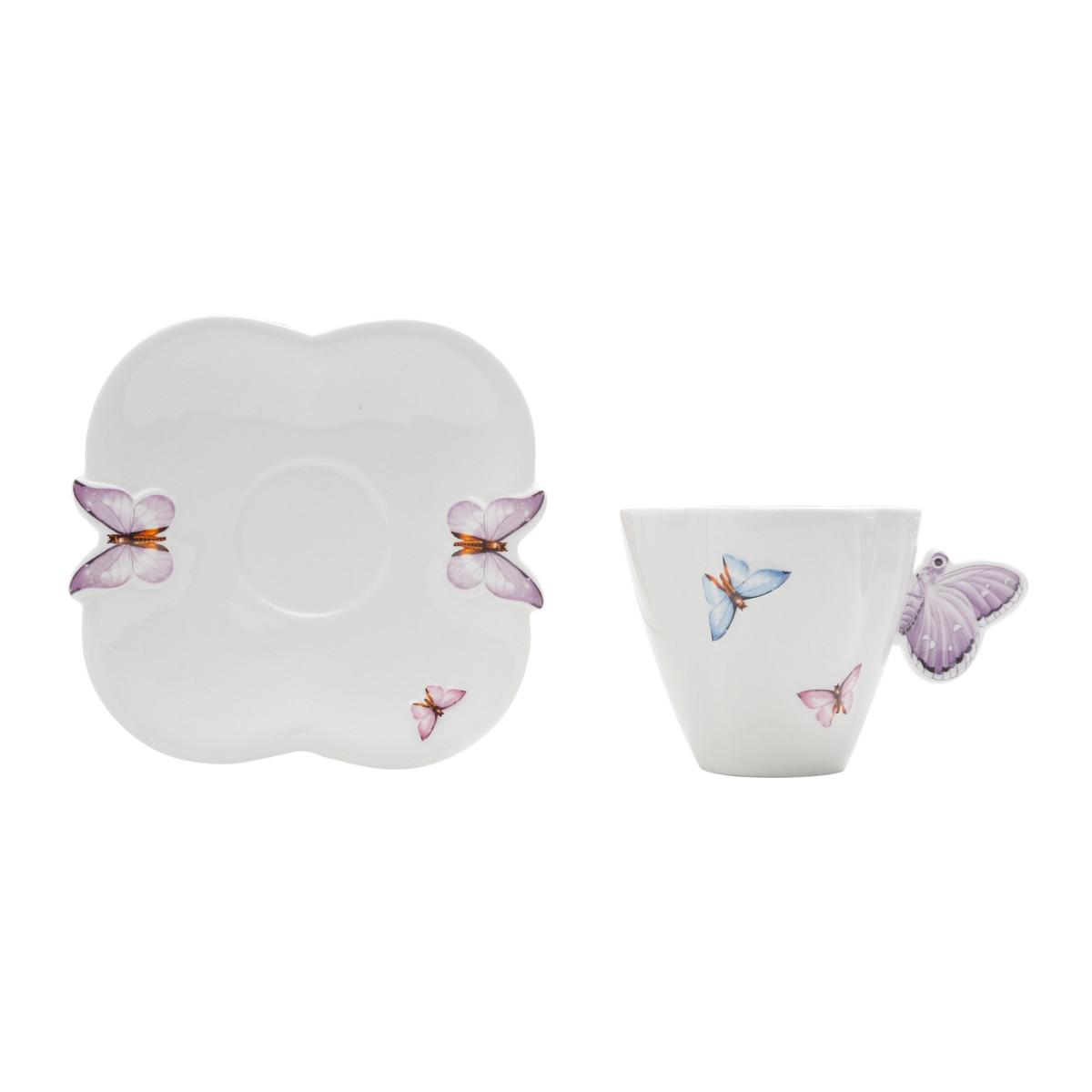 Xícara de Porcelana Borboleta para chá com Pires 200ml