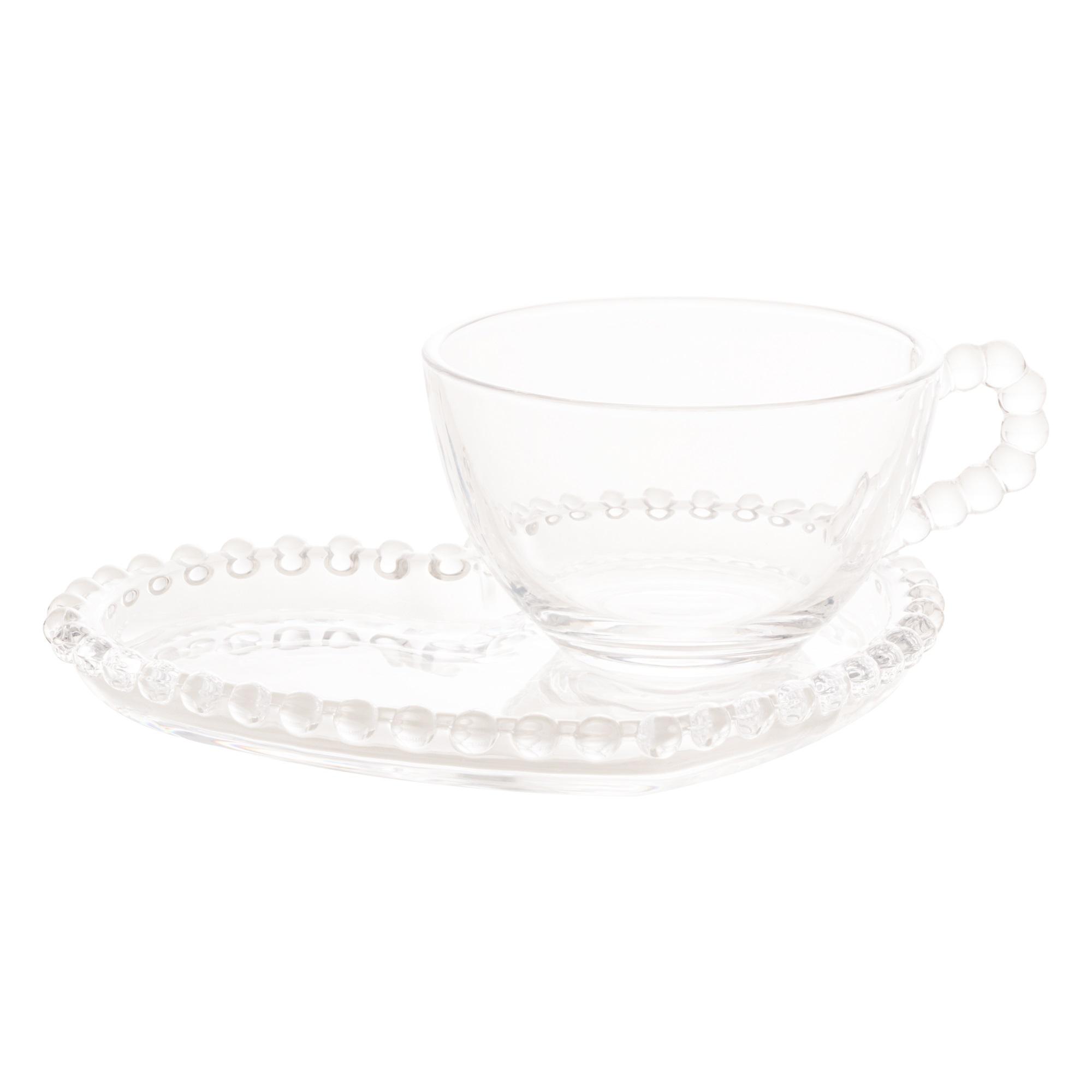Xicara para Chá em Cristal e Pires de Coração com Borda de bolinha 16x13x7 cm 180ml