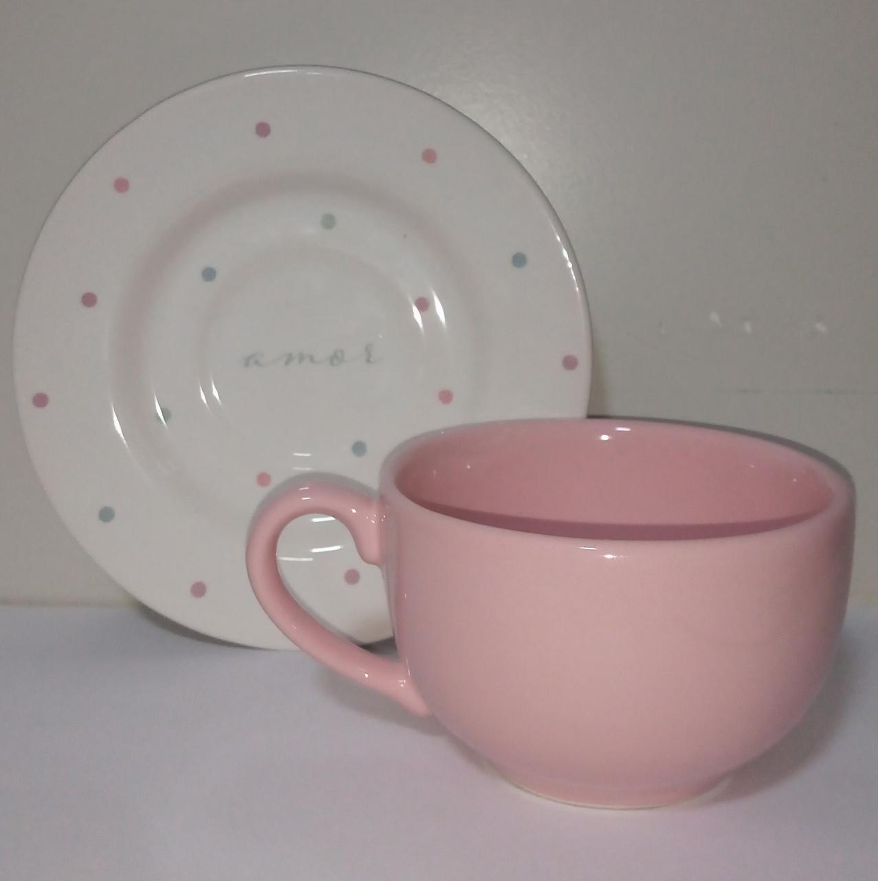 Xícara Rosa para Chá com Pires 'AMOR'  de Pascoa 200 ml