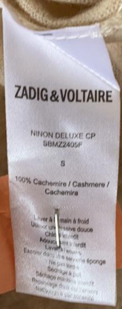 CARDIGAN ZADIG & VOLTAIRE BEGE SIZE SMALL