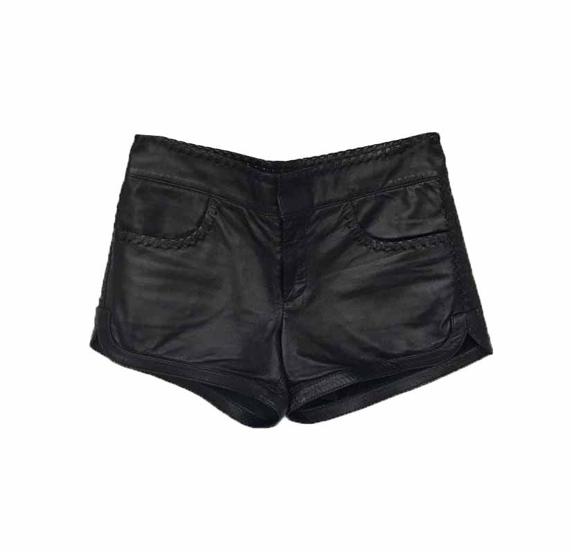 SHORT ATEEN PRETO COURO DET.LATERAL TAM 36