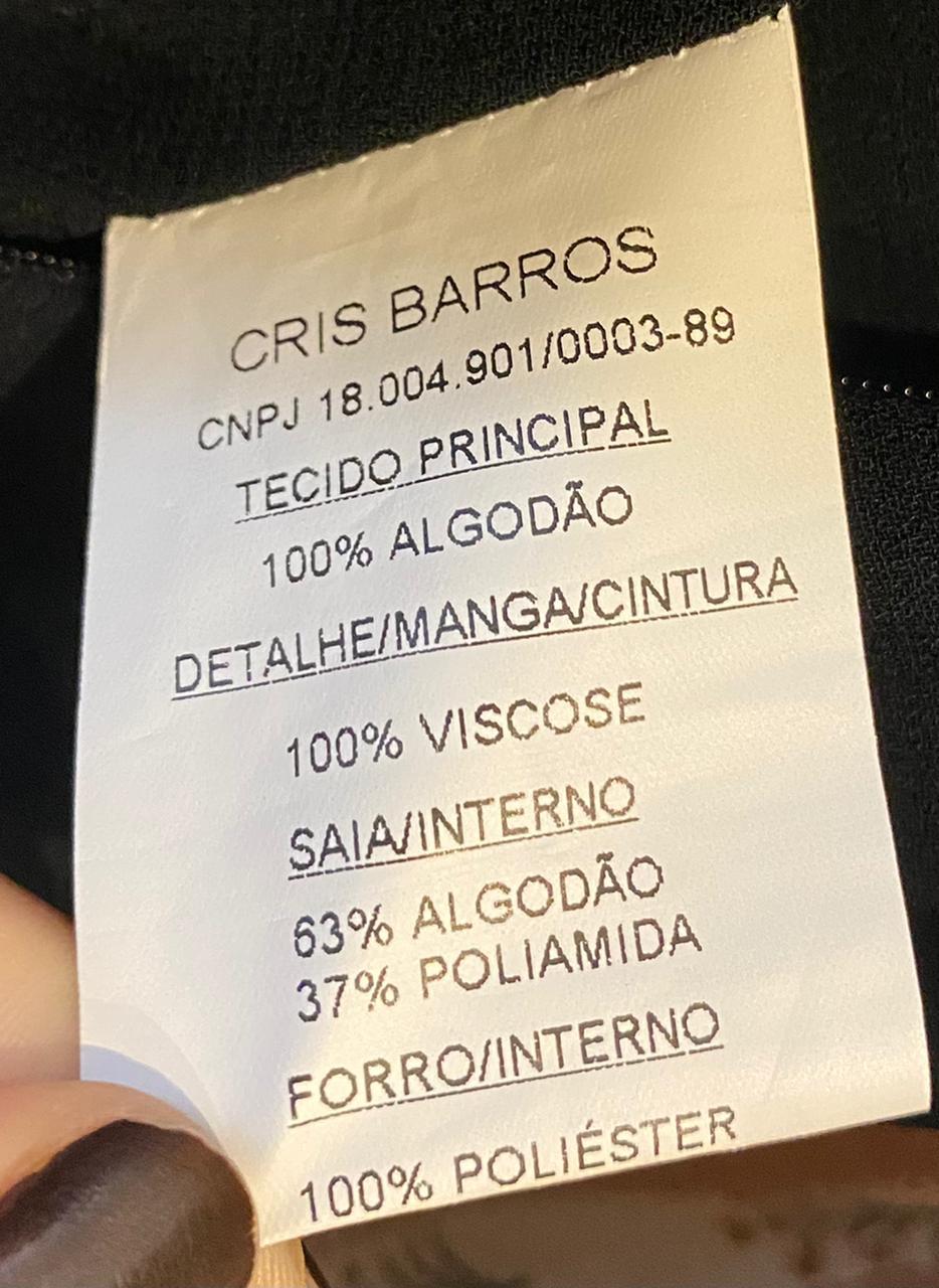 VESTIDO CRIS BARROS LIMITED PRETO OFF WHITE RENDA TAM 36