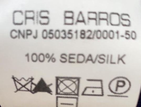 VESTIDO CRIS BARROS SEDA TRICOLOR C/FAIXA TAM 38