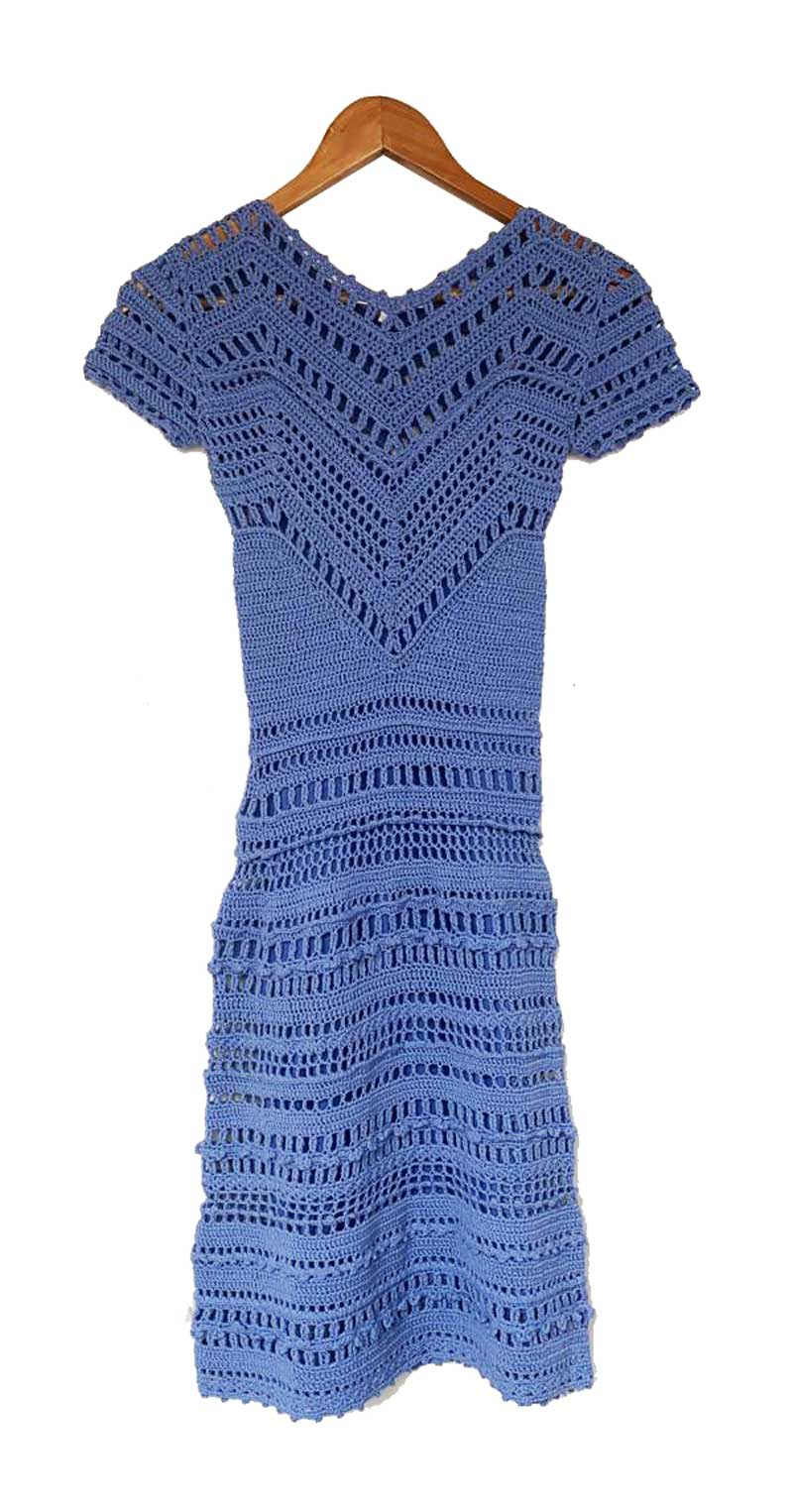 VESTIDO HAND CRAFTED ONLY CROCHE AZUL TAM P