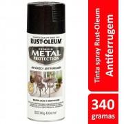 Spray Metal Protection Anticorrosivo Preto Brilhante 340g Rust Oleum