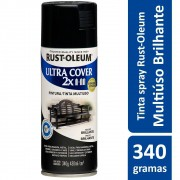 Tinta Spray Ultra Cobertura Preto Brilhante Ultra Cover 340g Rust Oleum
