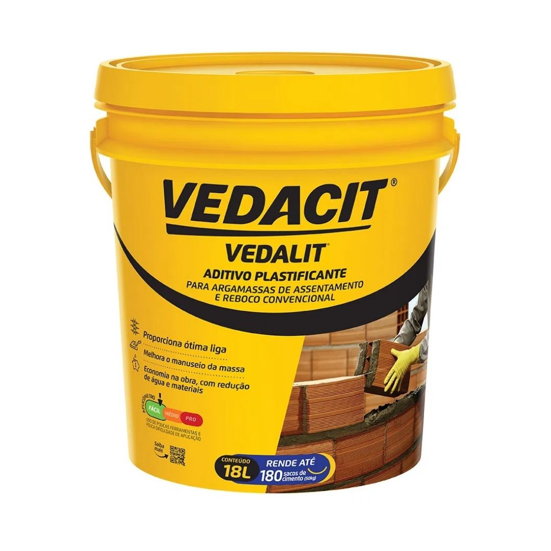 Aditivo Plastificante Vedalit 18 Litros Vedacit