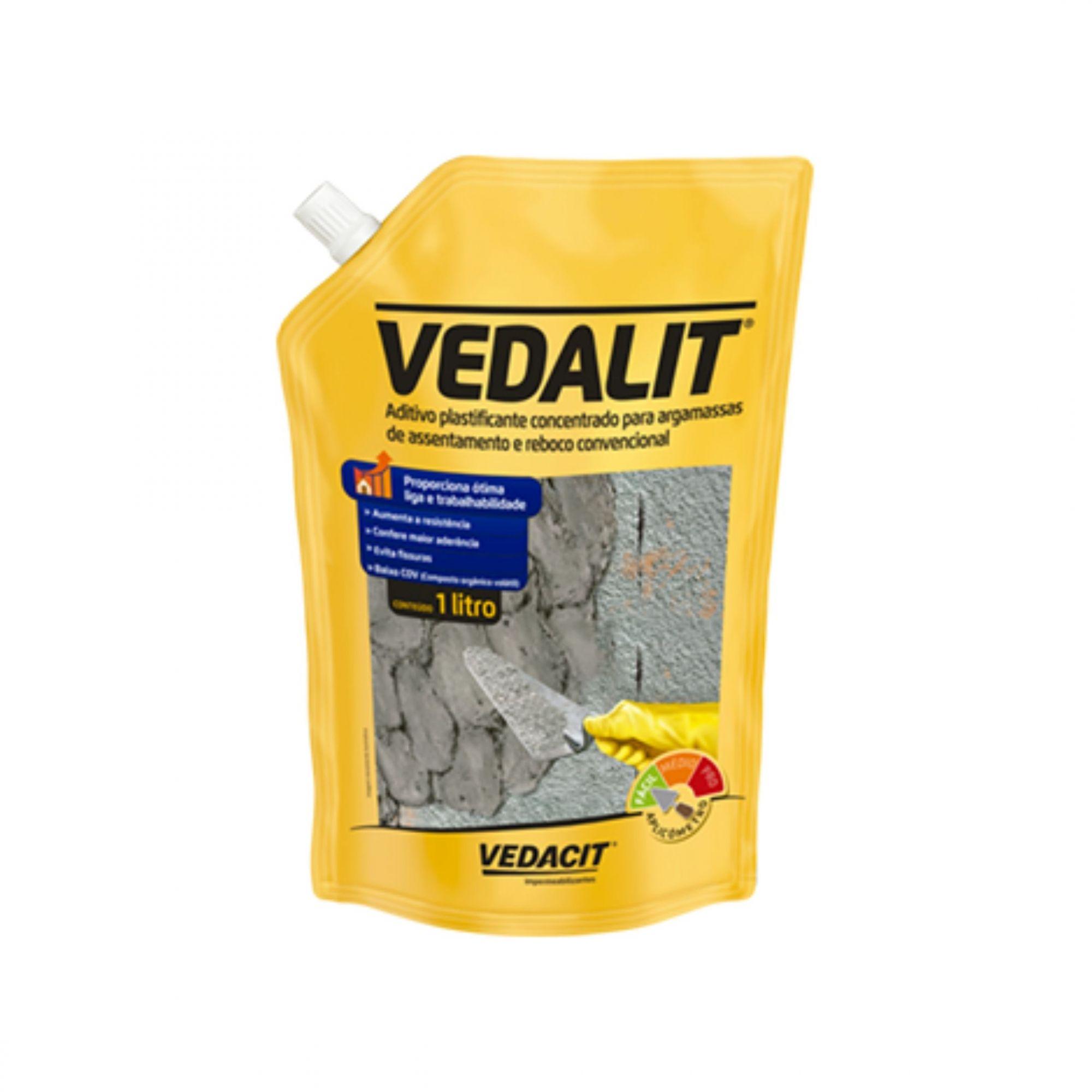 Aditivo Plastificante Vedalit 1 Litro Vedacit