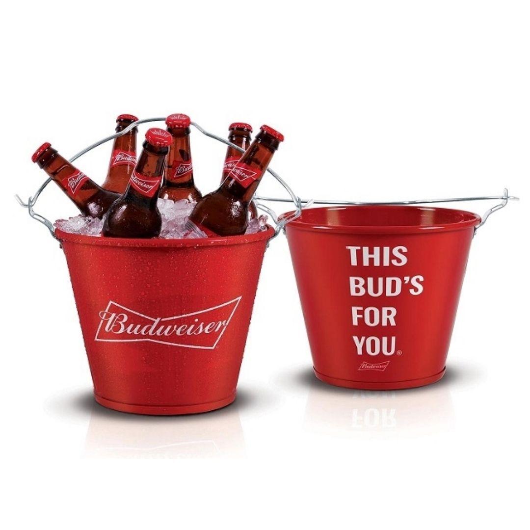 Balde de Gelo Budweiser Redondo Vermelho Ref: 21419
