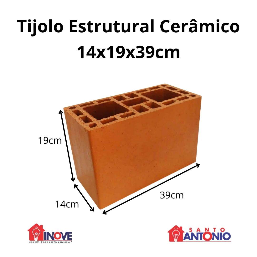 Bloco Cerâmico Estrutural 14x19x39cm Unidade