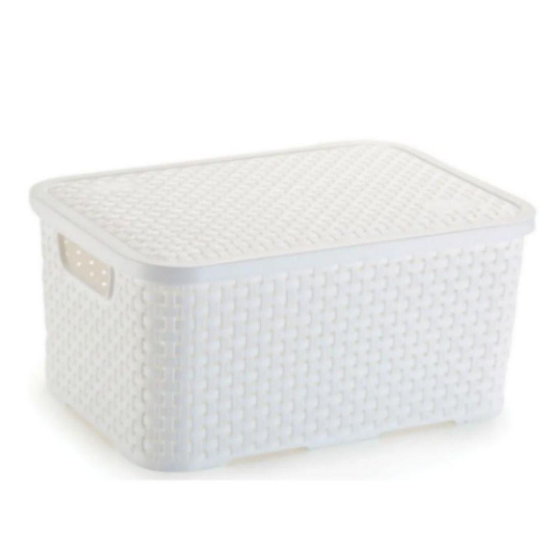 Caixa Organizadora Com Tampa Branco Pequena Rattan Nitron
