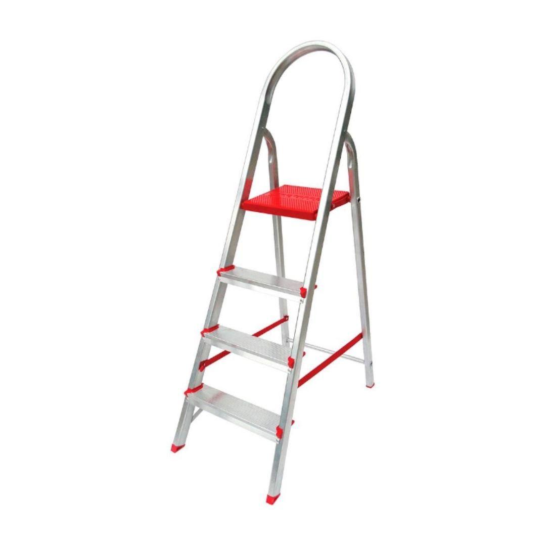 Escada de Alumínio Domestica 4 Degraus Dobrável Reisam