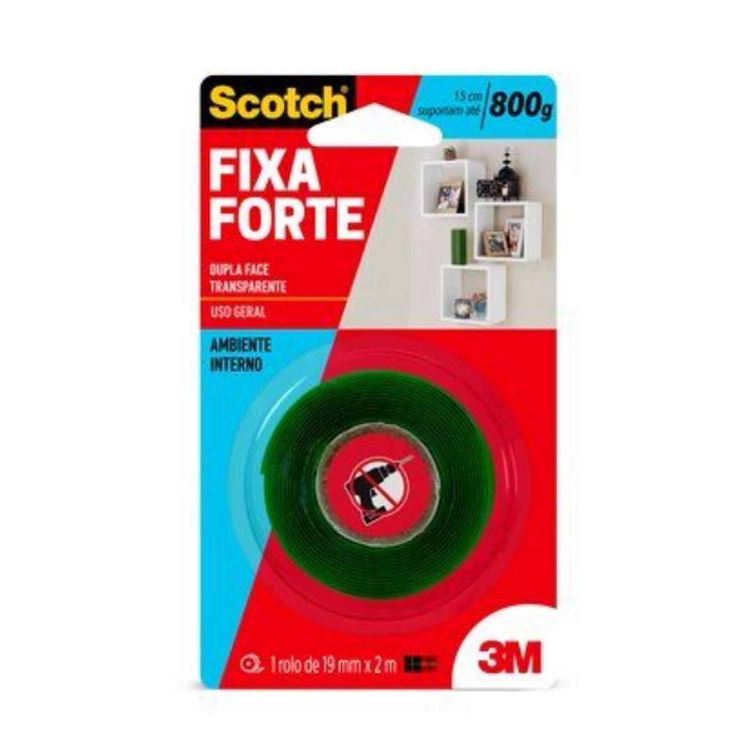 Fita Dupla Face Transparente Fixa Forte 19mm x 2m 3M