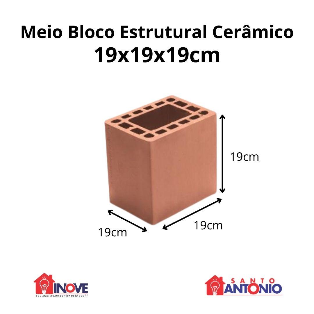 Meio Bloco Cerâmico Estrutural 19x19x19cm Unidade