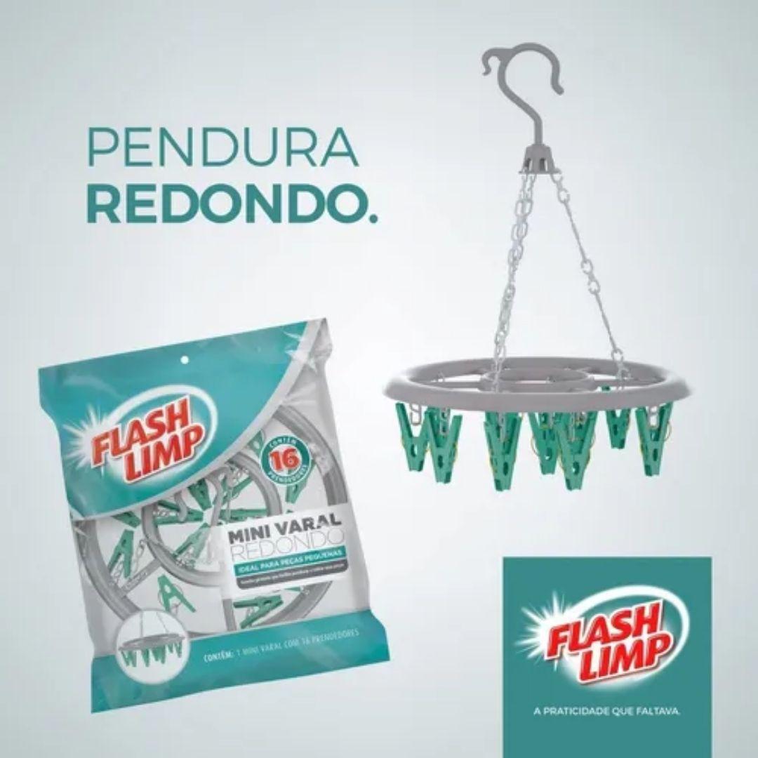 Mini Varal Redondo com 16 Prendedores Flash Limp