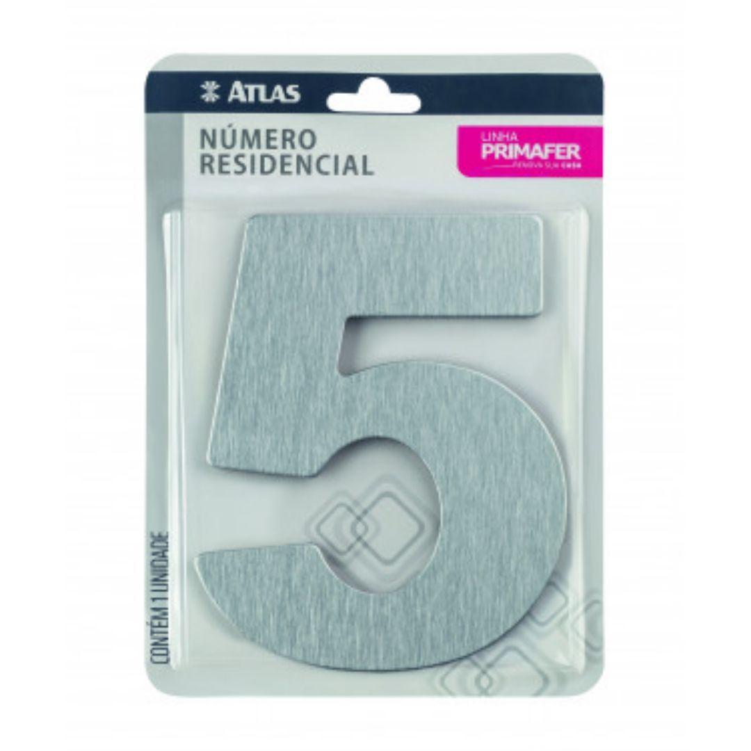 Número Residencial Grande Alumínio Escovado c/ Fita 3M Primafer